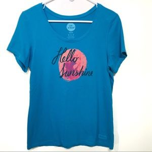 Life is Good Hello Sunshine blue tee shirt medium